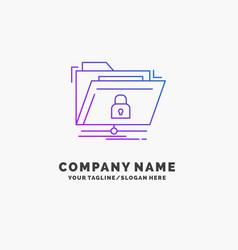 encryption files folder network secure purple vector image