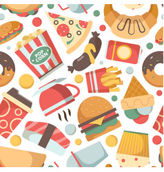 Fast food pattern restaurant menu pictures pizza vector