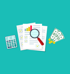 financial audit icon research chart and report vector image