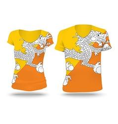 Flag shirt design of Bhutan vector