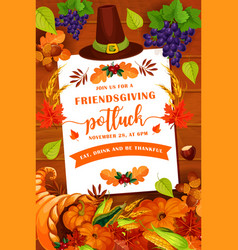 Friendsgiving potluck party objects vector