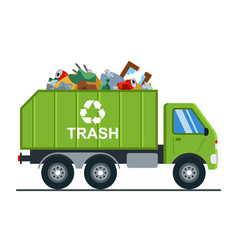 Garbage truck with garbage goes to landfill vector
