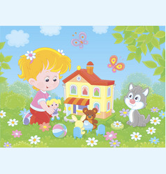 girl playing with a doll and a toy house vector image