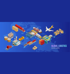 Global logistics chart over world map vector