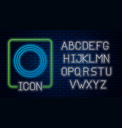 Glowing neon plate icon isolated on brick wall vector