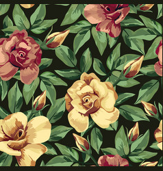 golden burgundy rose pattern seamless black vector image