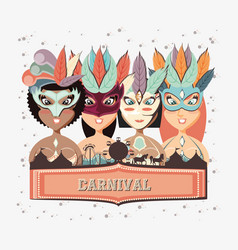 group of beautiful girls carnival characters vector image