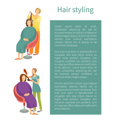 Hair styling treatment poster text set vector