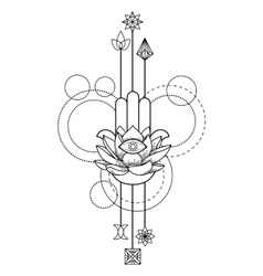 Hamsa Hand of Fatima Amulet tattoo vector