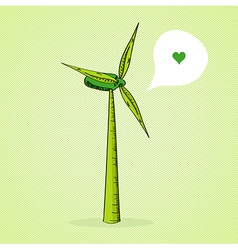 Hand drawn Green Windmill vector image
