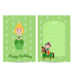 happy birthday kids postcard with princess vector image
