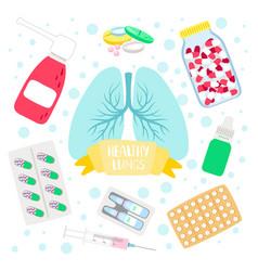 Healthy lungs medicine vector