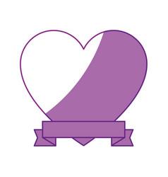 Heart and ribbon icon vector