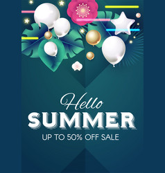 hello summer design template with palm leaves vector image