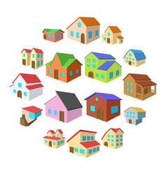 houses cartoon icons set vector image