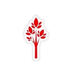 Icon sticker realistic design on paper tree vector