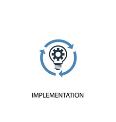 Implementation concept 2 colored icon simple blue vector