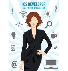 Ios lady developer search suit design concept vector