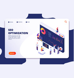 Isometric seo concept search engine optimization vector