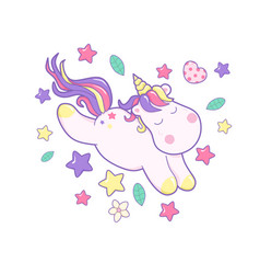 kawaii cute unicorn sflies and different magic vector image