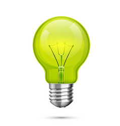 Lamp idea icon object green light white vector