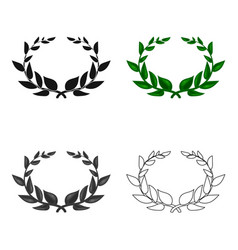 laurel wreath icon in cartoon style isolated on vector image