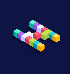 Letter n isometric colorful cubes 3d design vector