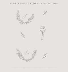 line florals wreaths frames vector image