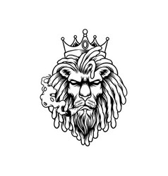 lion king smoked weed graphic silhouette vector image