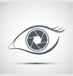 Logo human eye in form lens aperture vector