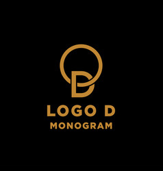 Luxury initial d logo design icon element isolated vector