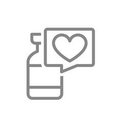 Medical ampoule and speech bubble with heart line vector