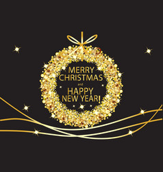 merry christmas and happy new year glowing gold vector image