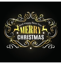 Merry Christmas typographic label vector image