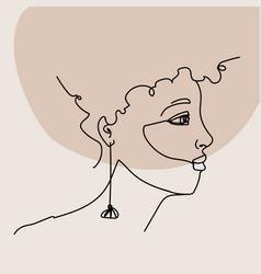 Minimalist one line female portrait interior art vector