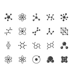 Molecule flat glyph icons set chemistry science vector