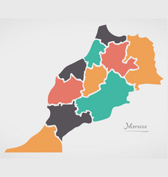 Morocco map with states and modern round shapes vector