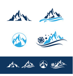 Mountain and rock flat logo set vector