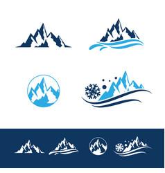 mountain and rock flat logo set vector image