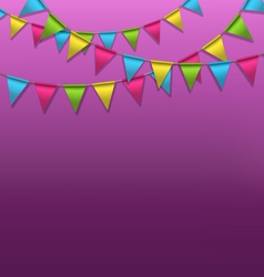 Multicolored bright buntings garlands on violet vector