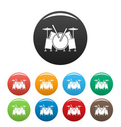 musical drums icons set color vector image