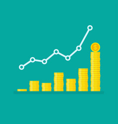 Nonlinear growth graph with stacks dollar coins vector