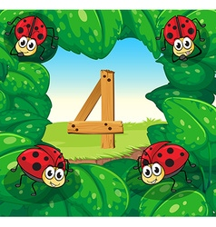 Number four with 4 ladybugs on leaves vector