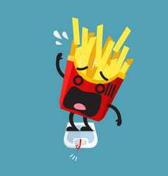 overweight french fries character on weight scale vector image