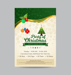 Party invitation for christmas in green and beige vector