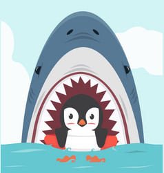 penguin swimming inflatable ring with shark vector image