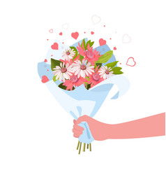 person giving flowers bouquet romance and gift vector image