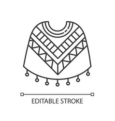 Poncho pixel perfect linear icon traditional vector