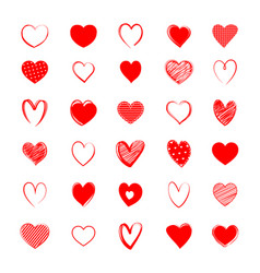 red heart symbol set love icon hand drawn vector image