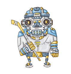 robot hockey player vector image